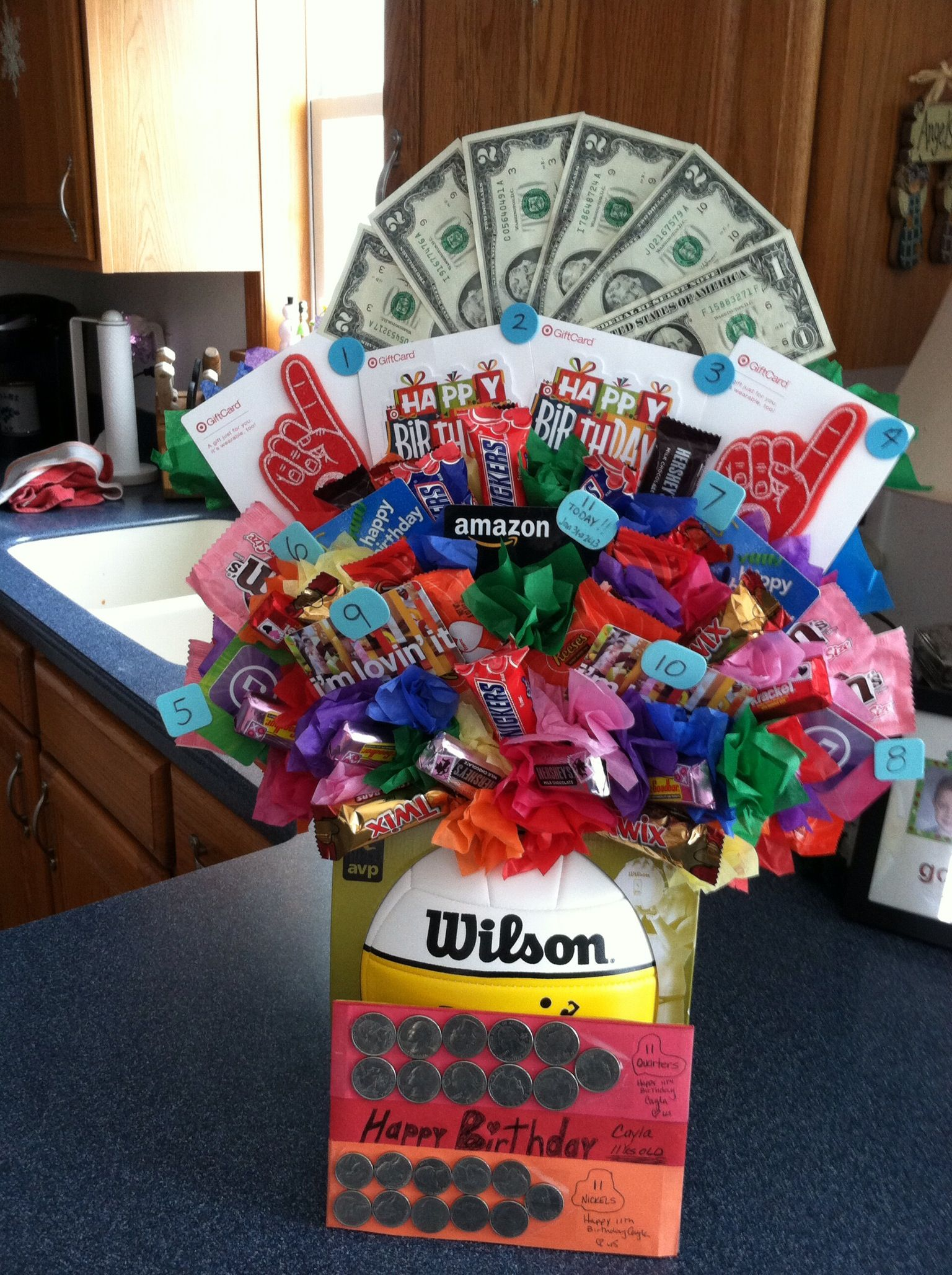 Volleyball Candy Gift Bouquet Cute End Of Season Coaches Gifts Have The Team Sign The Bal Gift Card Bouquet Diy Volleyball Gifts Volleyball Locker Decorations