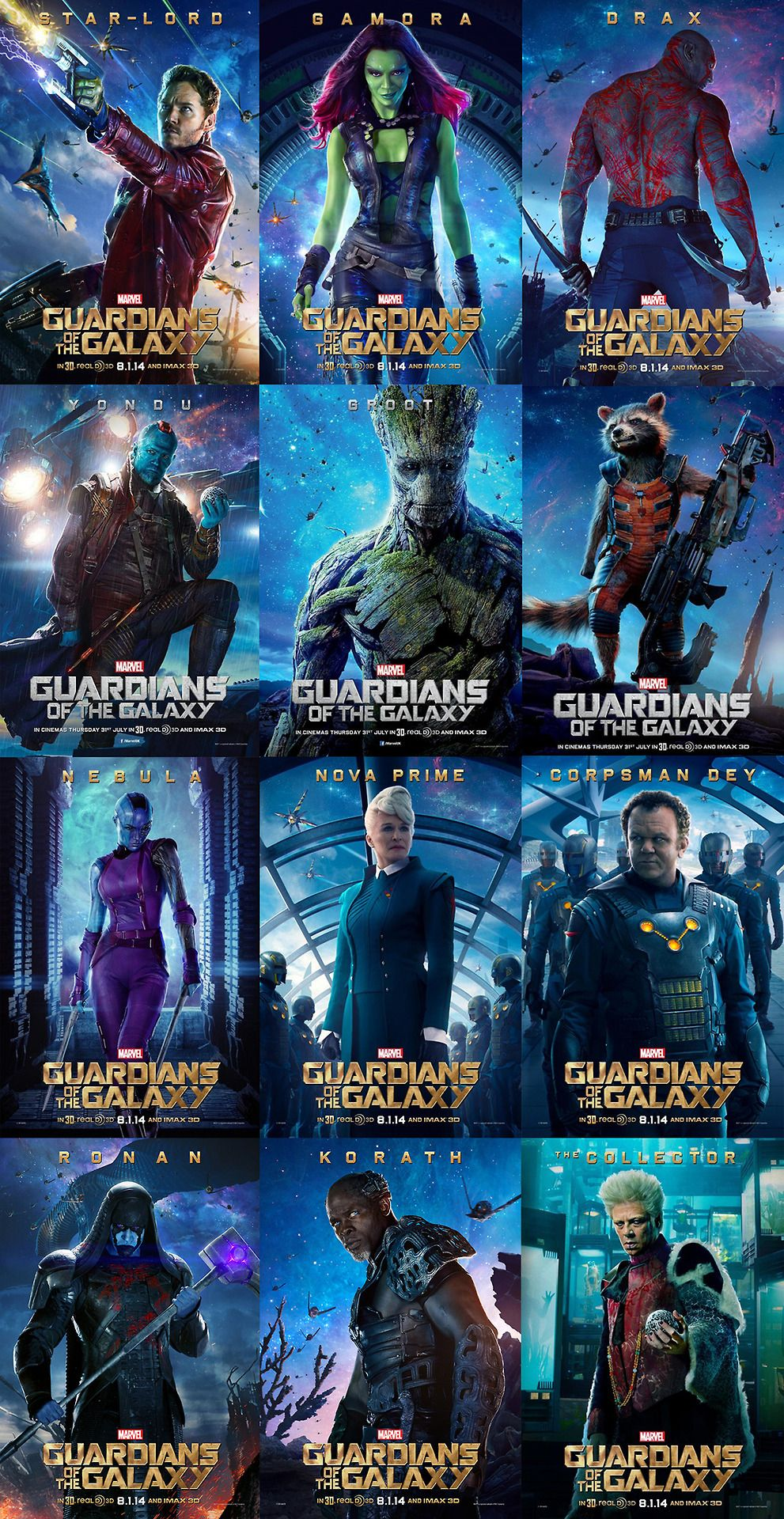 Finally! All the official character posters for Guardians ...