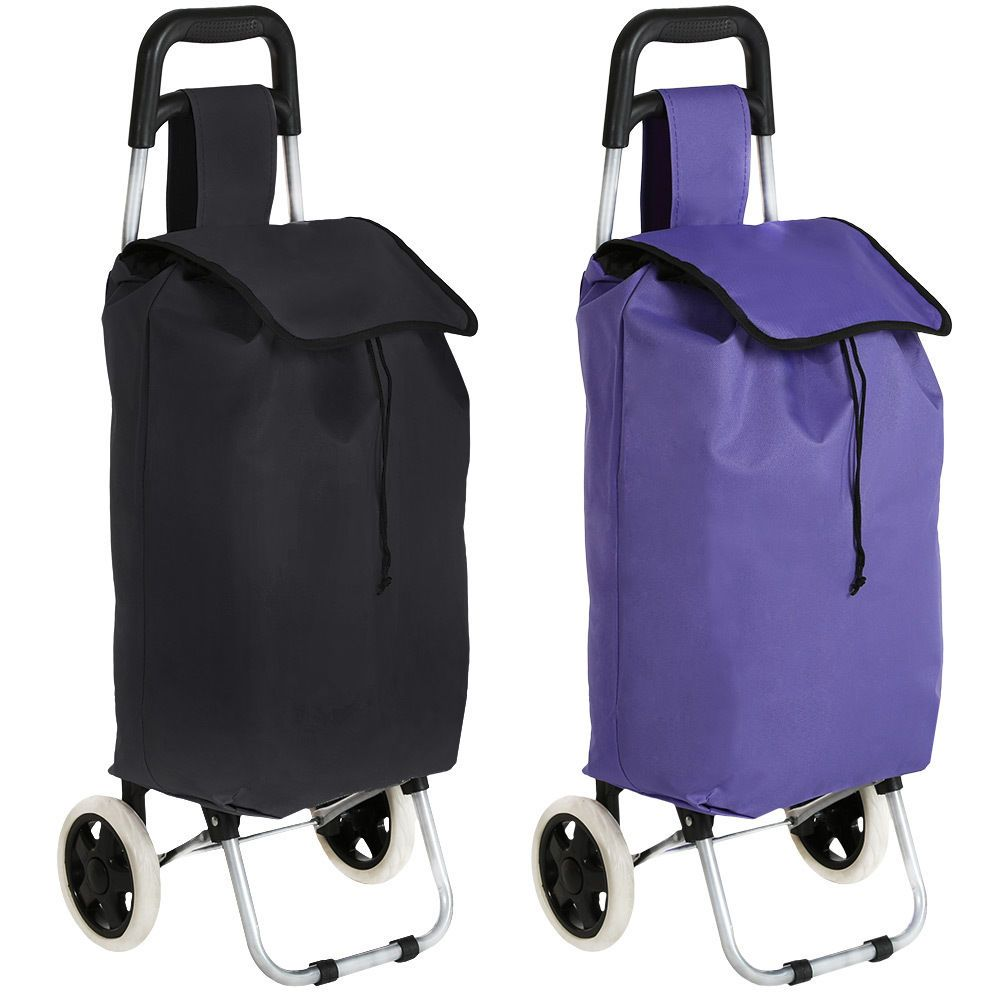 Details about Folding wheeled lightweight shopping trolley grocery ...
