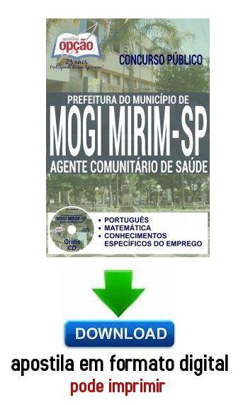 Apostila Agente Comunitario De Saude Prefeitura De Mogi Mirim