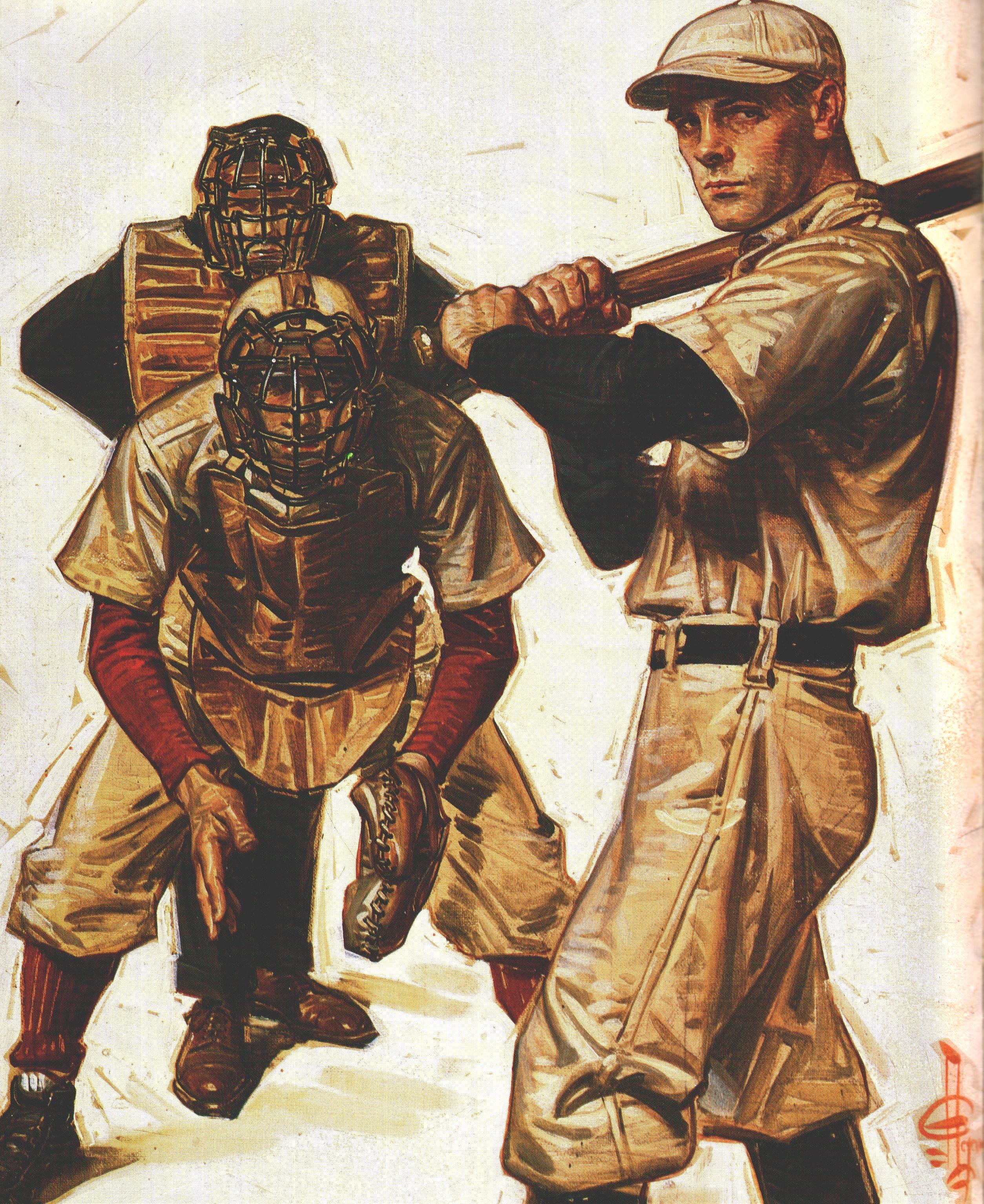 J C Leyendecker Baseball Scene Of Batter Catcher And Umpire