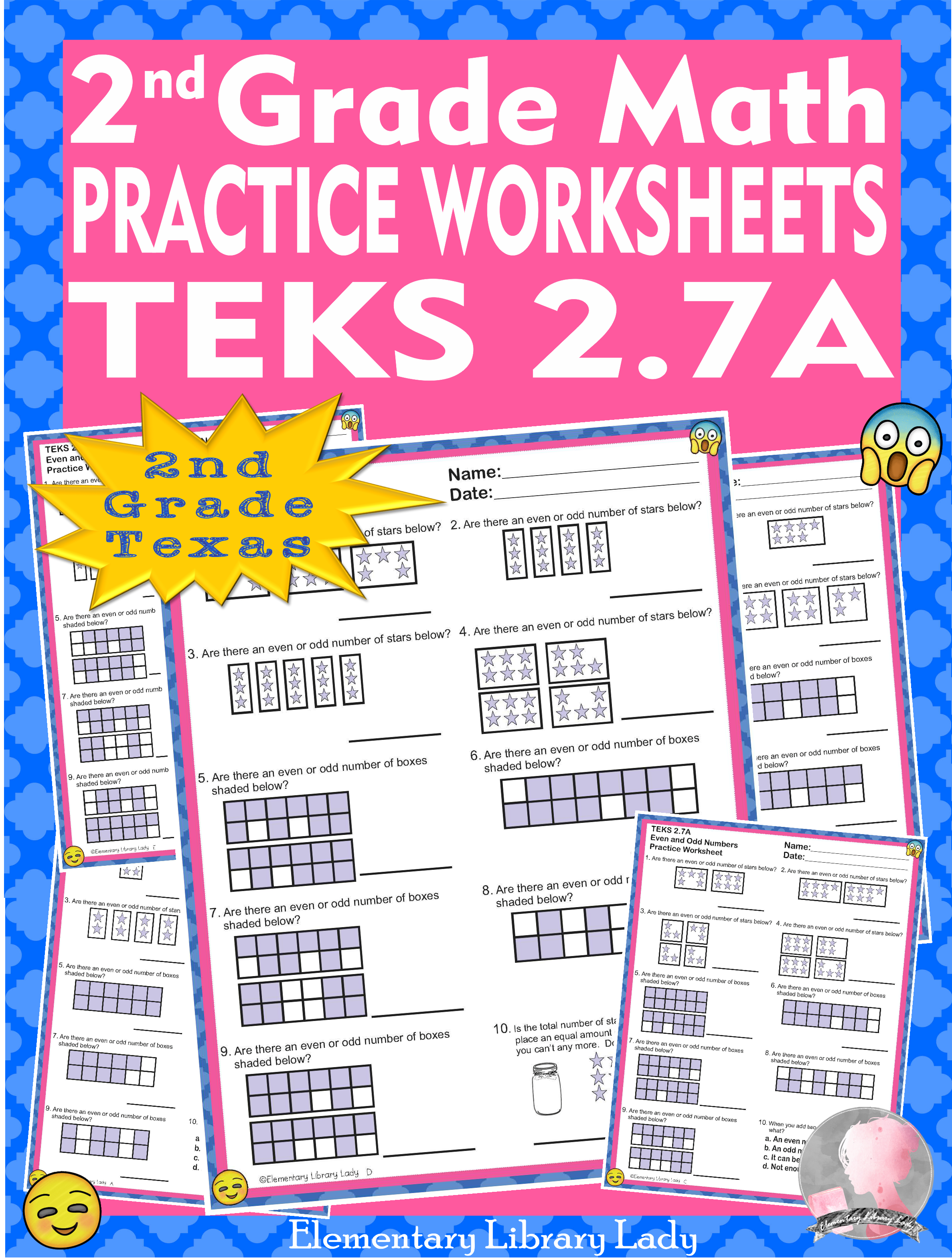 Math Teks 2 7a Worksheets Texas 2nd Grade Even And Odd To