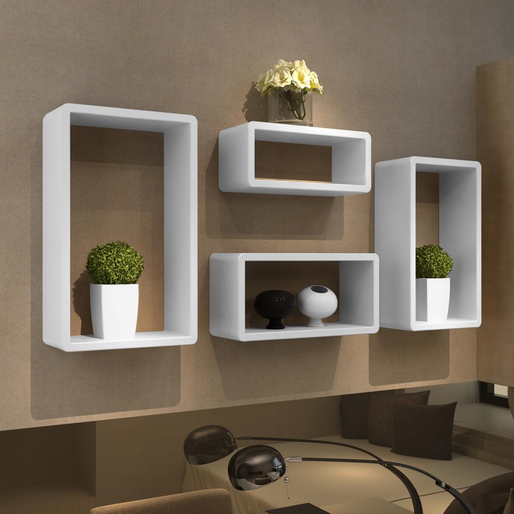 white cuboid shelf set of 4 white lovdock com wall on wall shelves id=14266