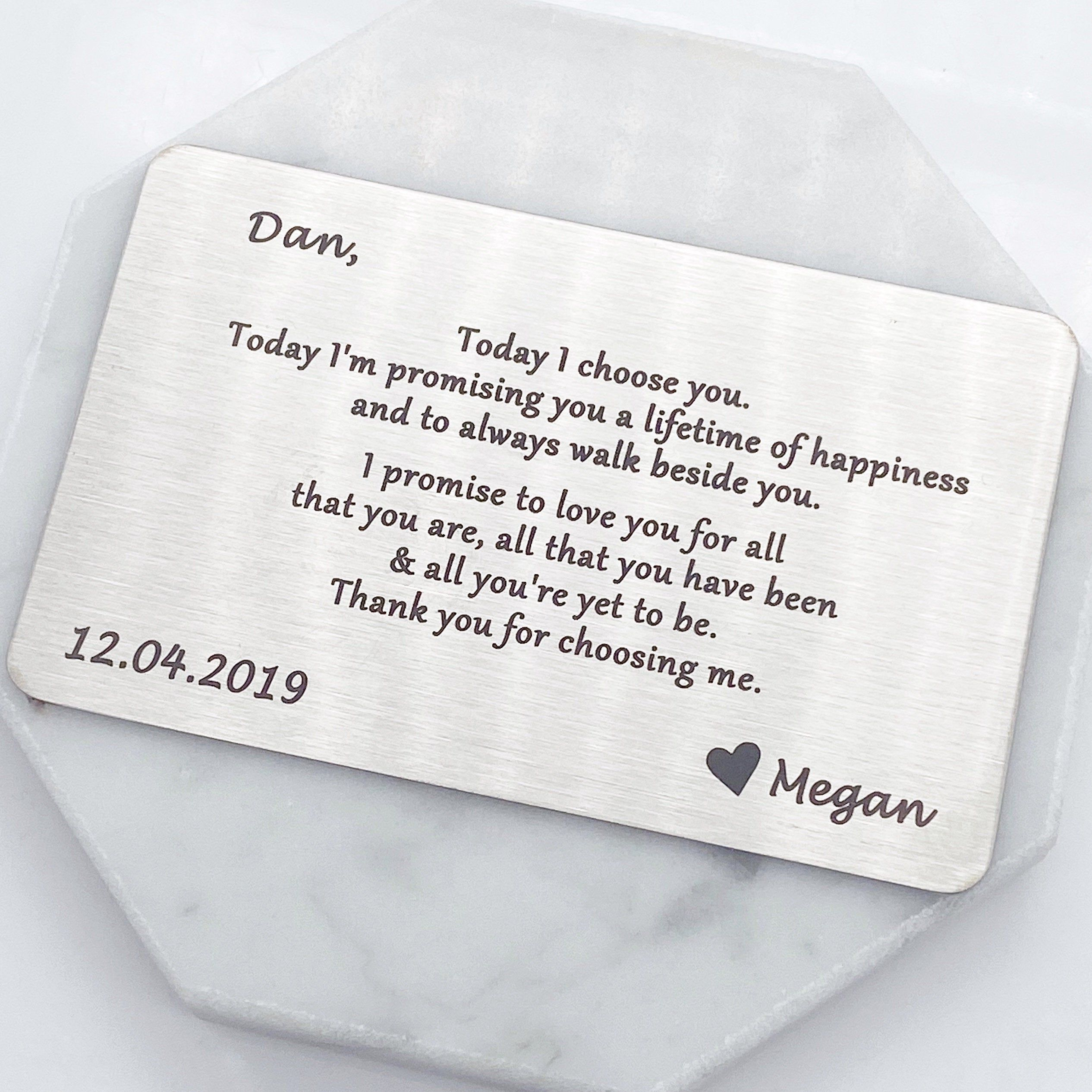 Love Letter Love Note Wallet Card Groom Gift Wedding Gift For Groom Gift From Bri In 2020 Wedding Gifts For Groom Personalized Wedding Gifts Bride And Groom Gifts