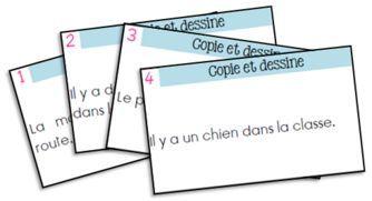 FREE French reading practice cards. Jeu de lecture - Copie et dessine