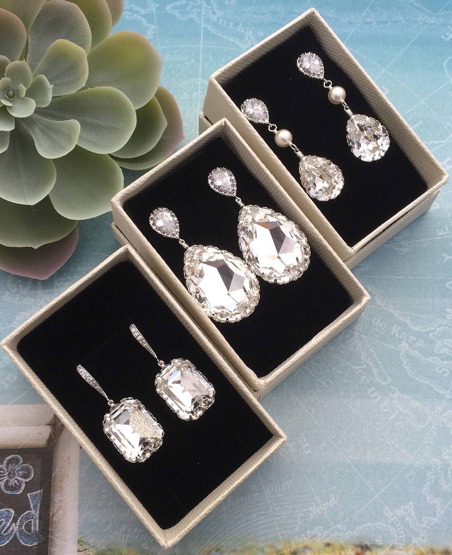 cb210b7e4 Handmade Swarovski crystal bridal earrings from EarringsNation elegant  bridal Jewelry luxury bridal earrings bridal fashion