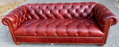 Ethan Allen Leather Sofa Burgundy Chesterfield Diamond Tufting