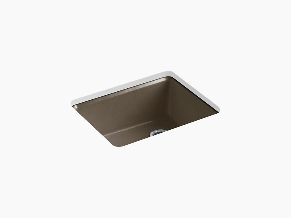 Kohler K 5872 5ua1 Riverby 25 Cast Iron Kitchen Sink Undermount Single Bowl Kitchen Sink With Sink Rack Sink Single Bowl Kitchen Sink Cast Iron Farmhouse Sink