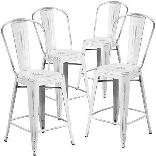 4 Pk 24 High Distressed White Metal Indoor Outdoor Cou