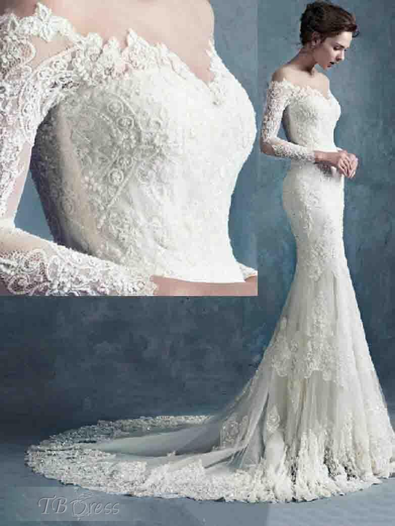 White Off-the-shoulder Lace Long Sleeve Bridal Gowns Cheap Simple ...