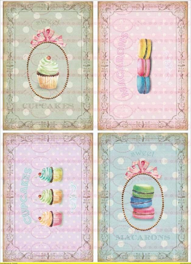 Shabby Chic Bügelbild Cupcake DIN A4   Kreativ ...