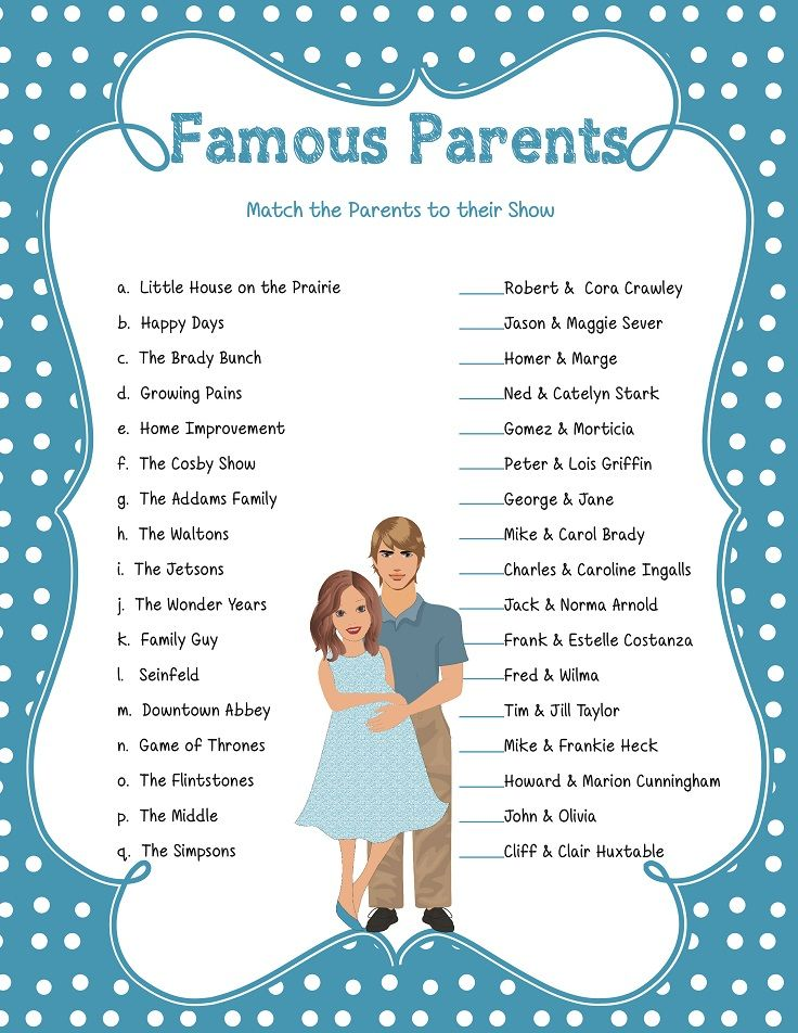 Famous Parents Game, Baby Shower Game, Celebrity Baby Game ...