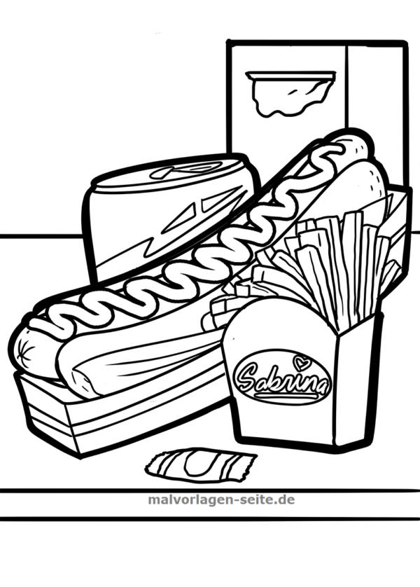 Malvorlage / Ausmalbild Fastfood - Kostenlose Malvorlagen ...
