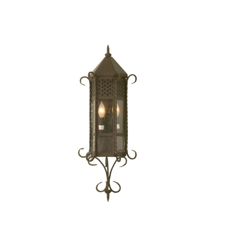 "Meyda Tiffany 28666 11"" Wide 2 Light Lantern Wall Sconce with Seedy Glass Shade Café Noir Indoor Lighting Wall Sconces Down Lighting"