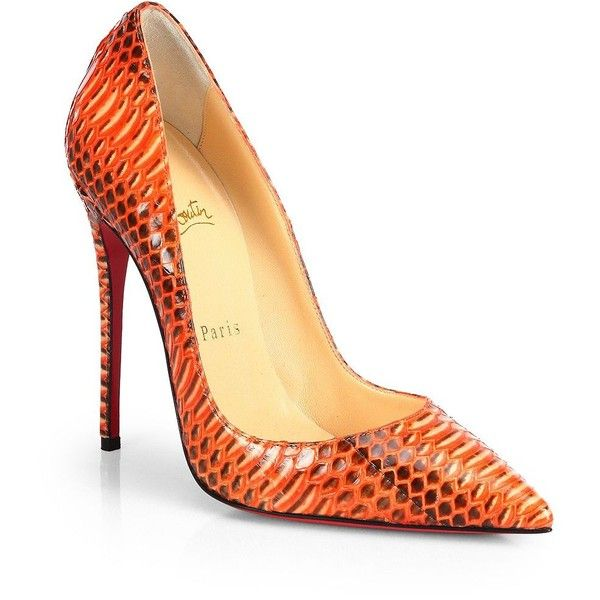 Christian Louboutin So Kate Snakeskin Pumps (9,015 GTQ) ❤ liked on Polyvore featuring shoes, pumps, heels, orange, snake skin pumps, red sole pumps, stiletto pumps, stilettos shoes and stiletto heel pumps