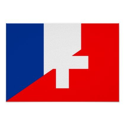 Switzerland France Flag Country Half Symbol Swiss Poster Country Gifts Style Diy Gift Ideas Poster Prints Flag Country France Flag