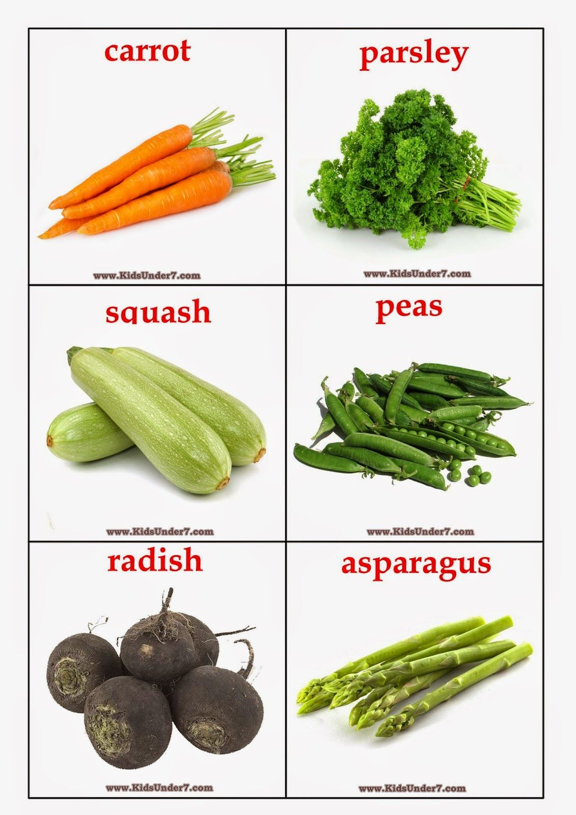 Kids Under 7: Vegetables Flashcards | обучение развитие ...