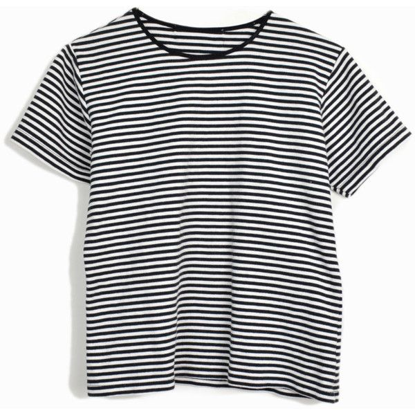 Vintage 90s Striped Tee In Black White Short Sleeve T Shirt Women S 24 Liked On Polyvore F Black And White T Shirts White Striped Tee White Stripes Top