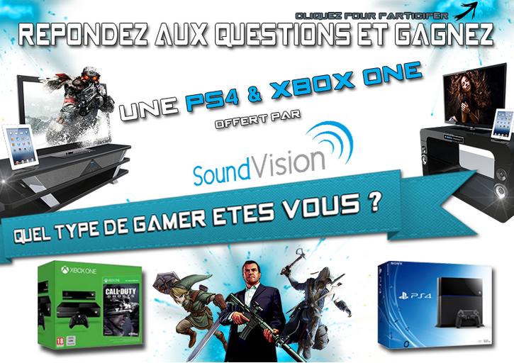 Gagnez une console Xbox One d'une valeur de 499 € et une console Ps4 d'une valeur de 399 €. Lien Facebook : https://www.facebook.com/MySoundVision/app_516674815092994