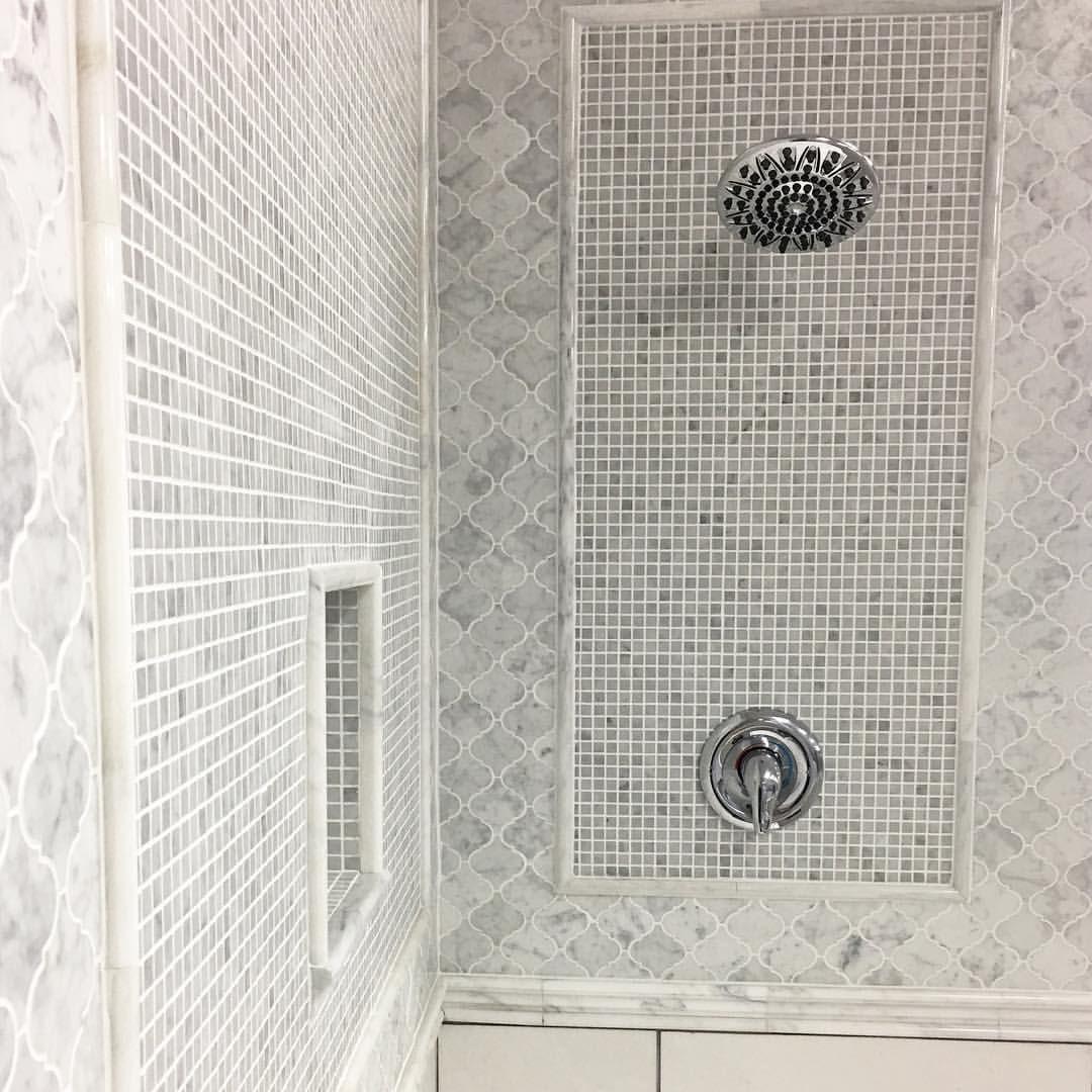 Bianco Carrara White Marble Shower Design Shower Design By Jason Skadsen Arabesque Lanterns Creat White Marble Shower Marble Showers Arabesque Tile Bathroom