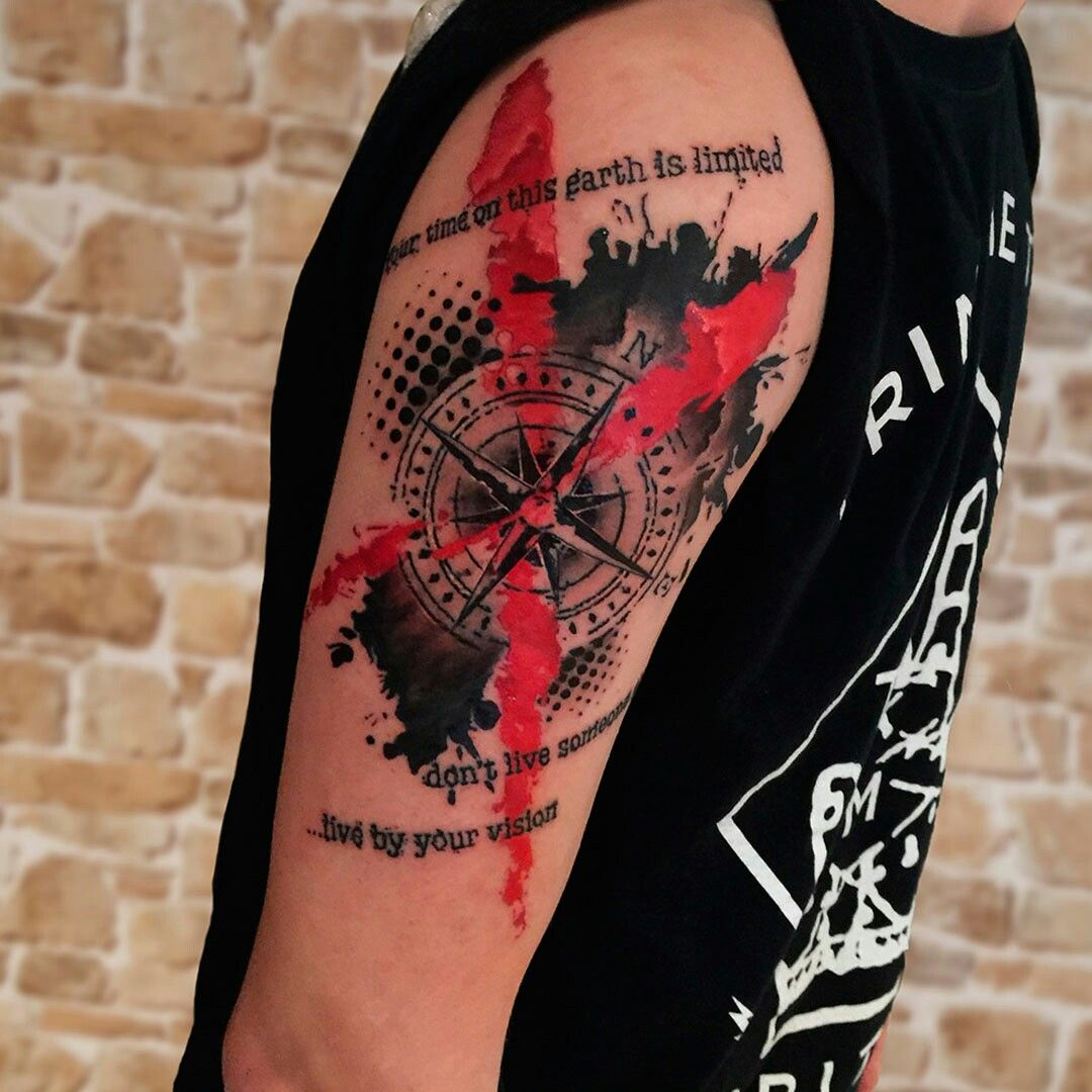 Trash Polka Compass Ink Tatto