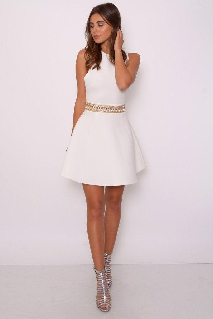Vestido Blanco cinturón dorado - 1001noches | VESTIDOS FIESTAS ...