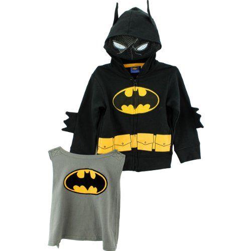 HOODIE JACKET CAPE PANTS SET BOYS BATMAN 2 PC OUTFIT KIDS SWEATS LITTLE LONG