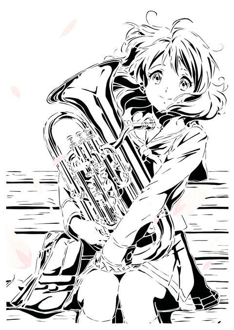 切り絵黄前久美子響けユーフォニアムpatataのイラスト