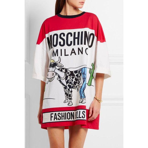Oversized Jersey Moschino Cotton Shirt T Dress325 Printed 1FKJcl