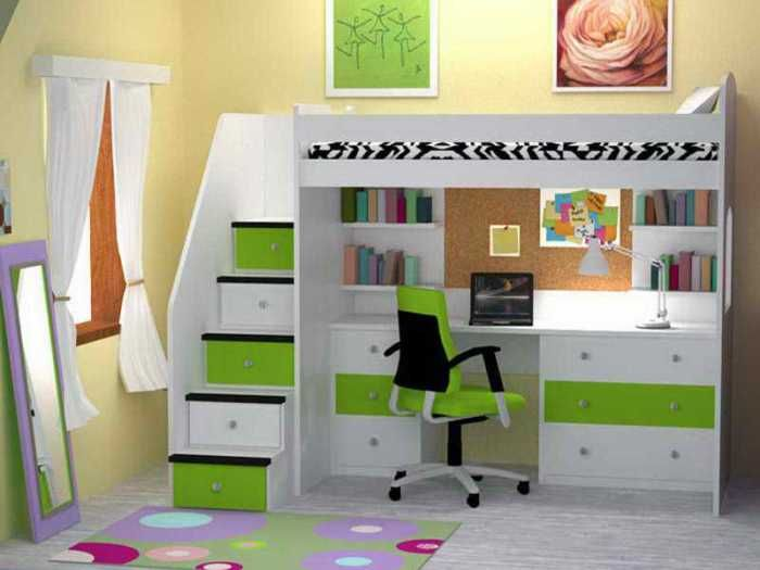 Colorful Bunk Bed With Desk Underneath And Storage For Kid Bedroom