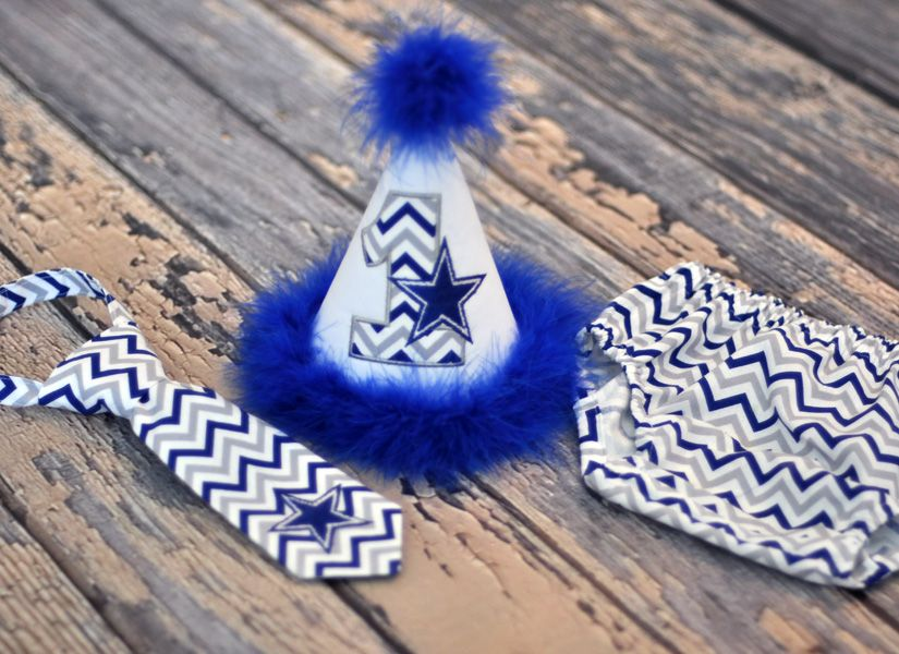 0b584631f909 Birthday Party Hat, Diaper Cover, Tie - First Birthday, Smash Cake Pics,  Photo Prop - Dallas Cowboys - Cake Smash Outfit in Blue, Gray and White  Chevron
