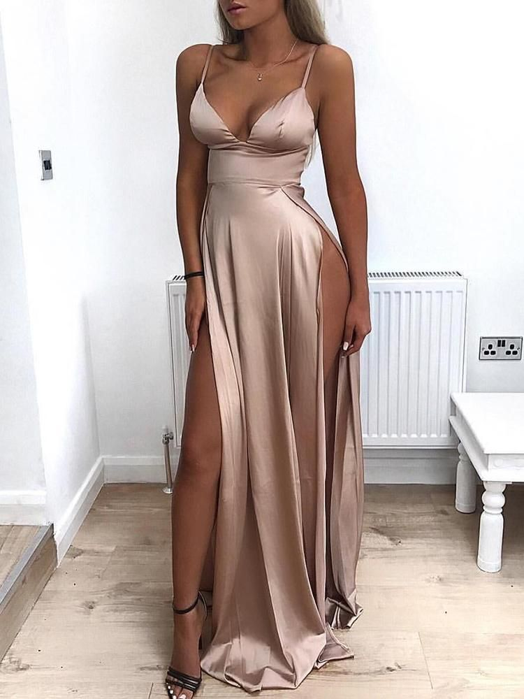 65afc86d6f Deep V High Slit Maxi Slip Dress