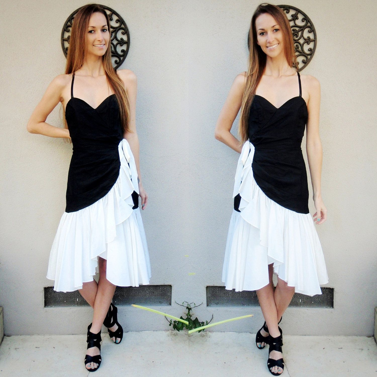 Amazing black and white party dress with bow white party