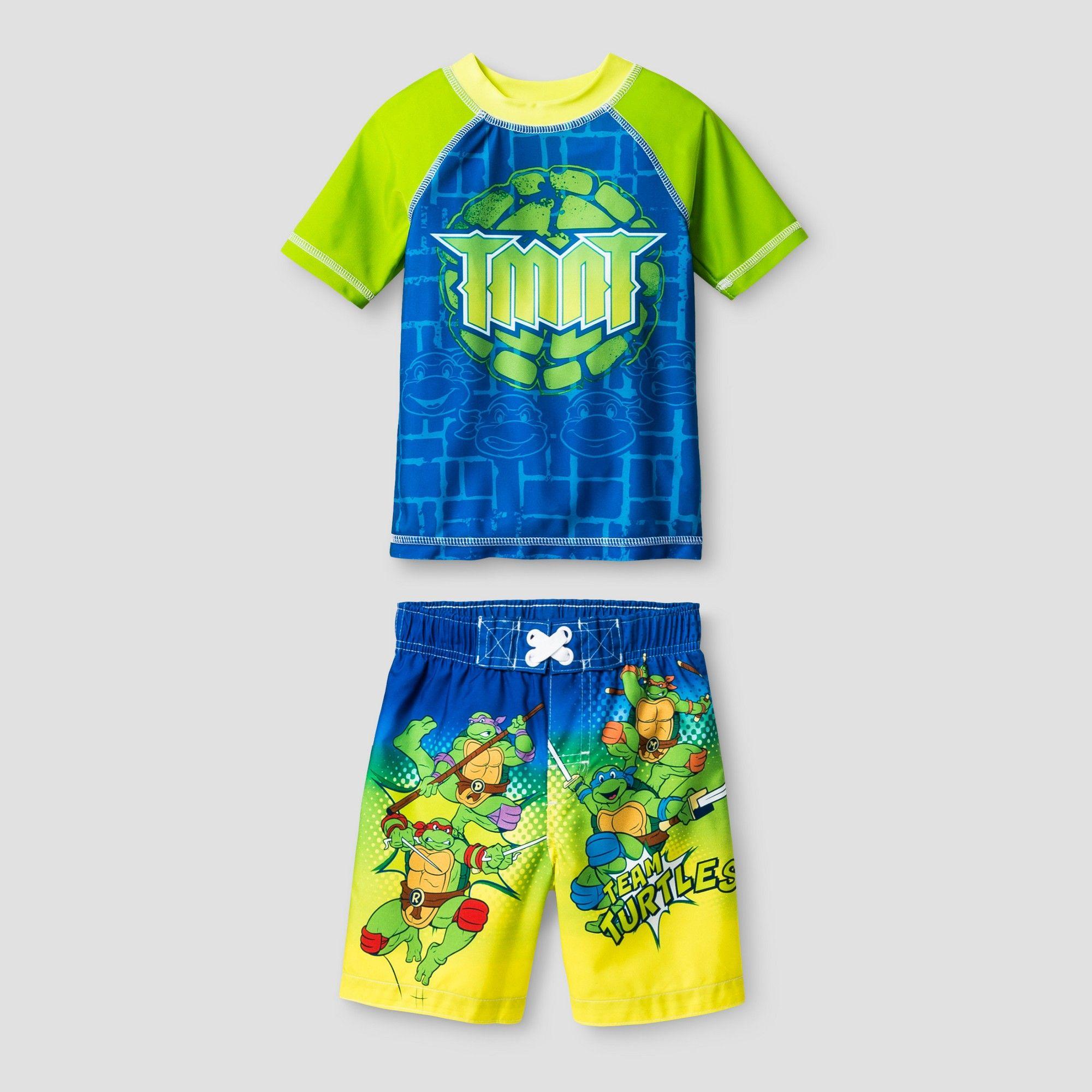 0b11c14f32 Teenage Mutant Ninja Turtles Toddler Boys' Swim Trunks - Blue 2T, Green