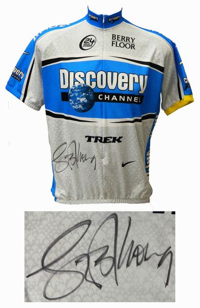 Lance Armstrong Signed Nike Grey Discovery Channel Logo Cycling Jersey