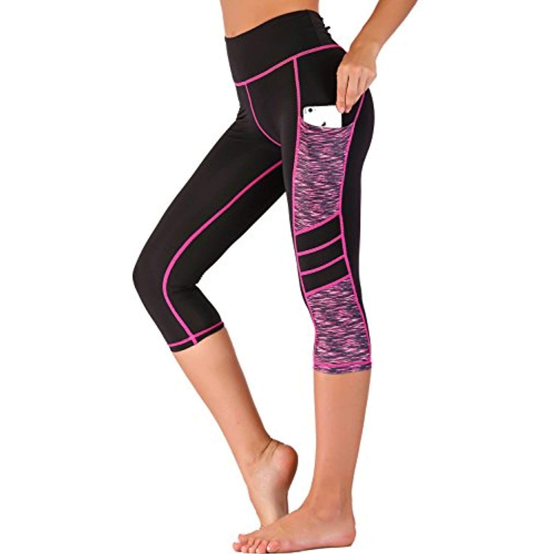 11d7aafb520 Imido Women's Yoga Capri Pants Sport Tights Workout Running Mesh ...