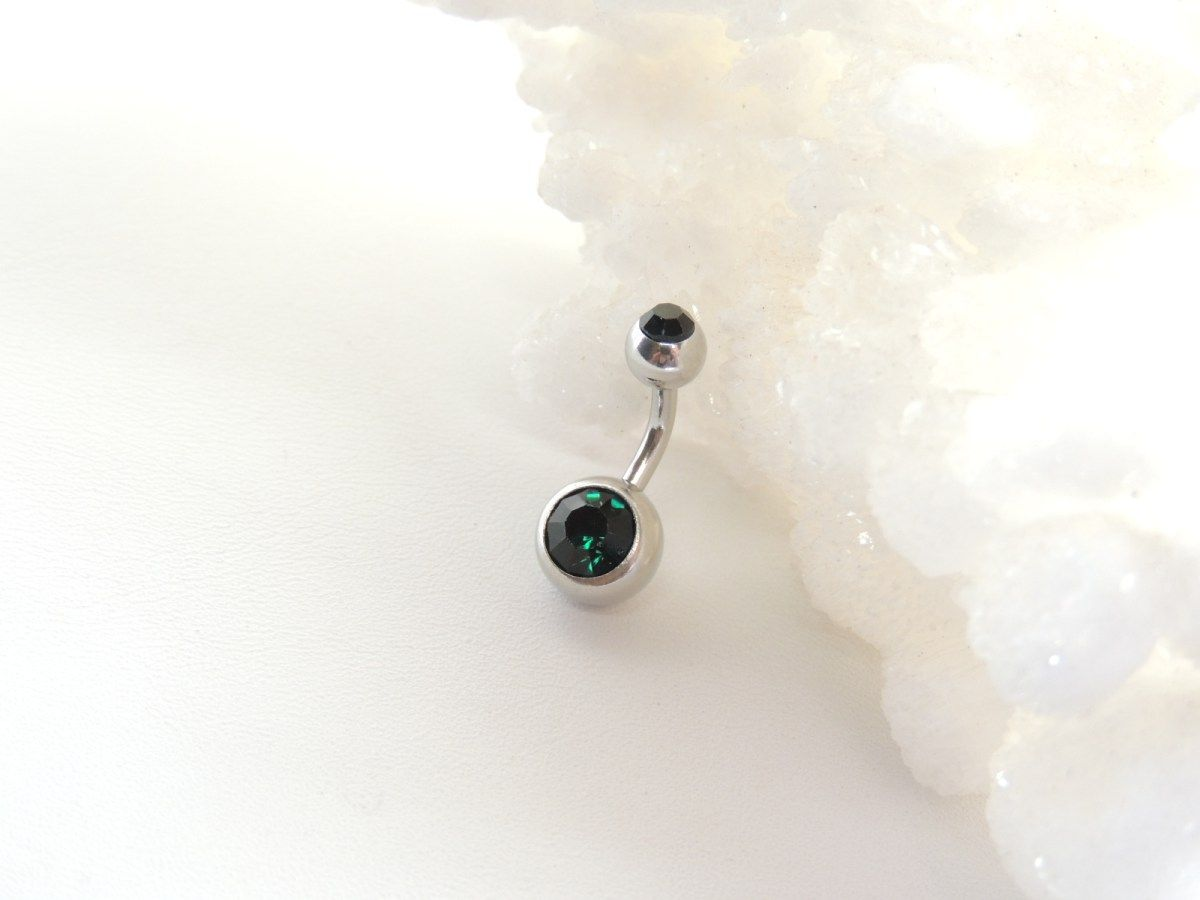Piercing bump inside nose  Emerald Green Double Gem Belly Ring with Short mm Bar  Belly Rings