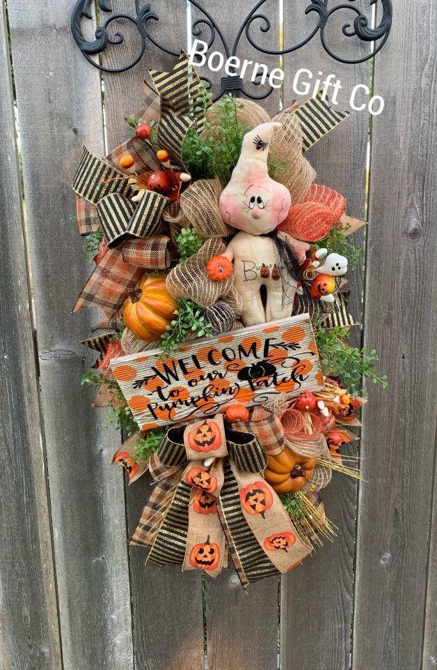 Photo of Primitive Halloween, Rustic Swag, Wreath, Front Door Wreath, Fall Wreath, Fall Decor, Halloween Wreath, Autumn Wreath, Rustic Fall Wreath