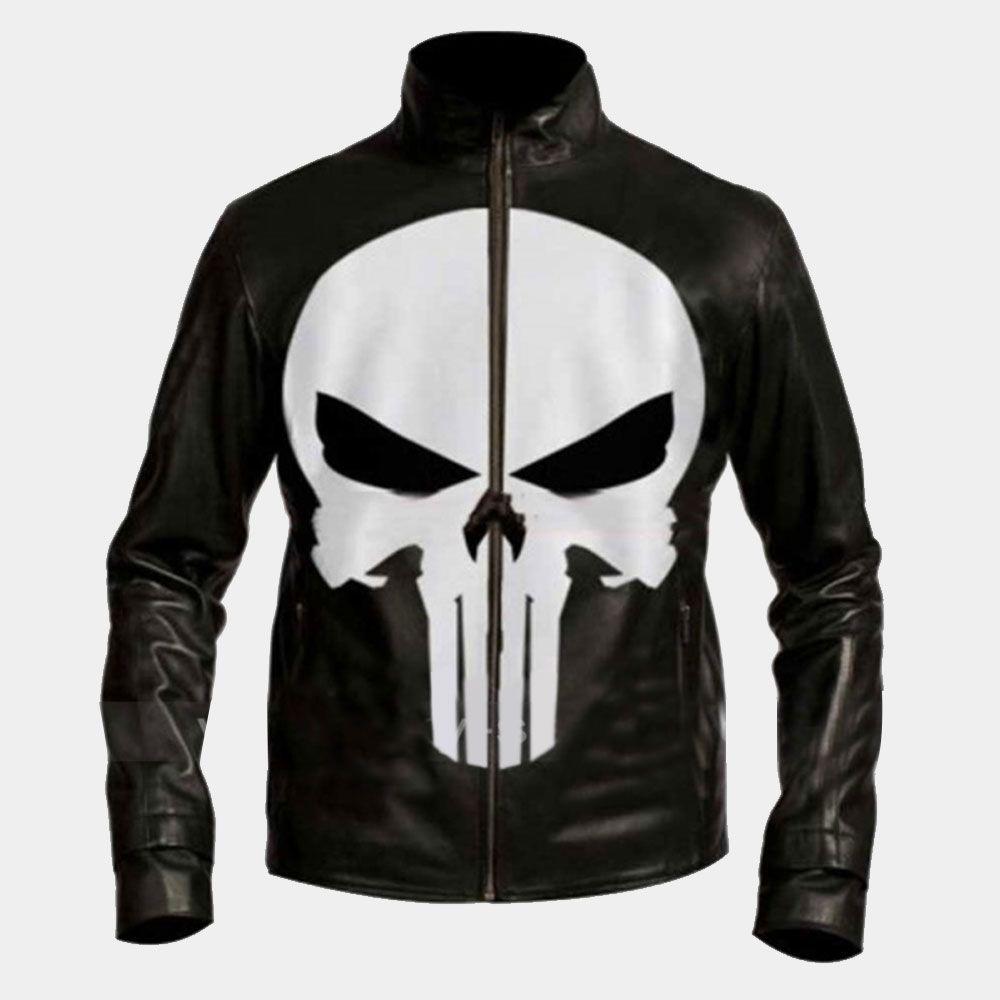 Punisher Skull Black Biker Leather Jacket Black Leather Biker Jacket Leather Jacket Jackets [ 1000 x 1000 Pixel ]