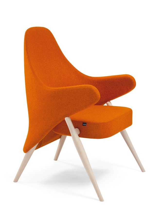 Upholstered fabric easy chair with armrests liv by piaval for Sedie arancioni
