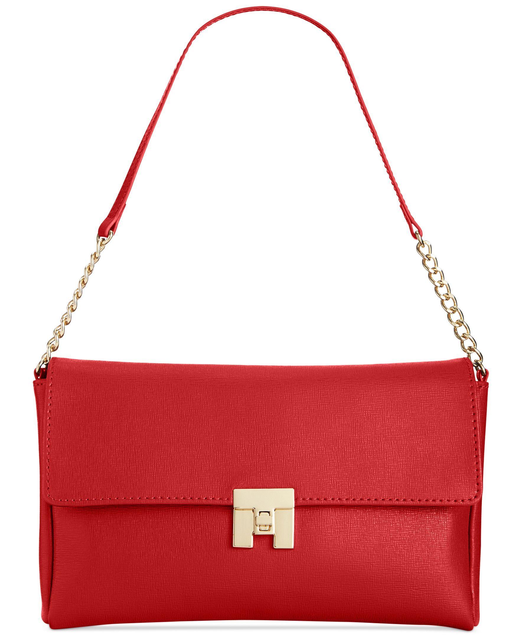 Tommy Hilfiger Th Turnlock Textured Leather Flap Shoulder Bag