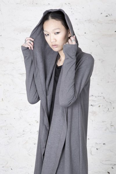 Soft, textured fleece long cardigan with draped shawl collar that ...