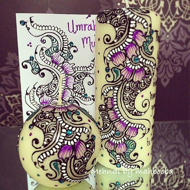 Umrah Mubarak Candle Gift Set With Matching Card Bespoke Henna
