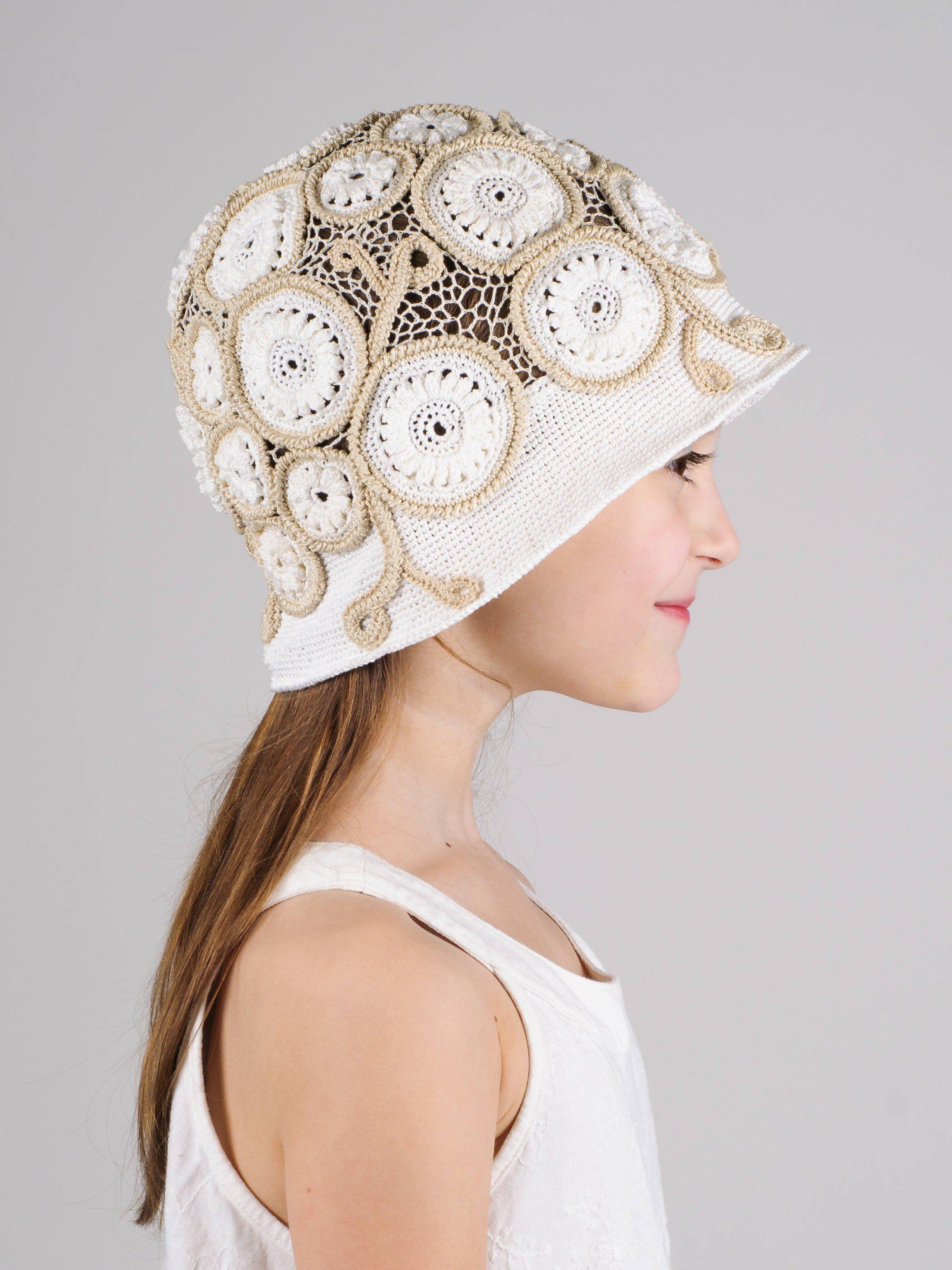 Crochet lace hat cotton girls hat crochet flapper hat