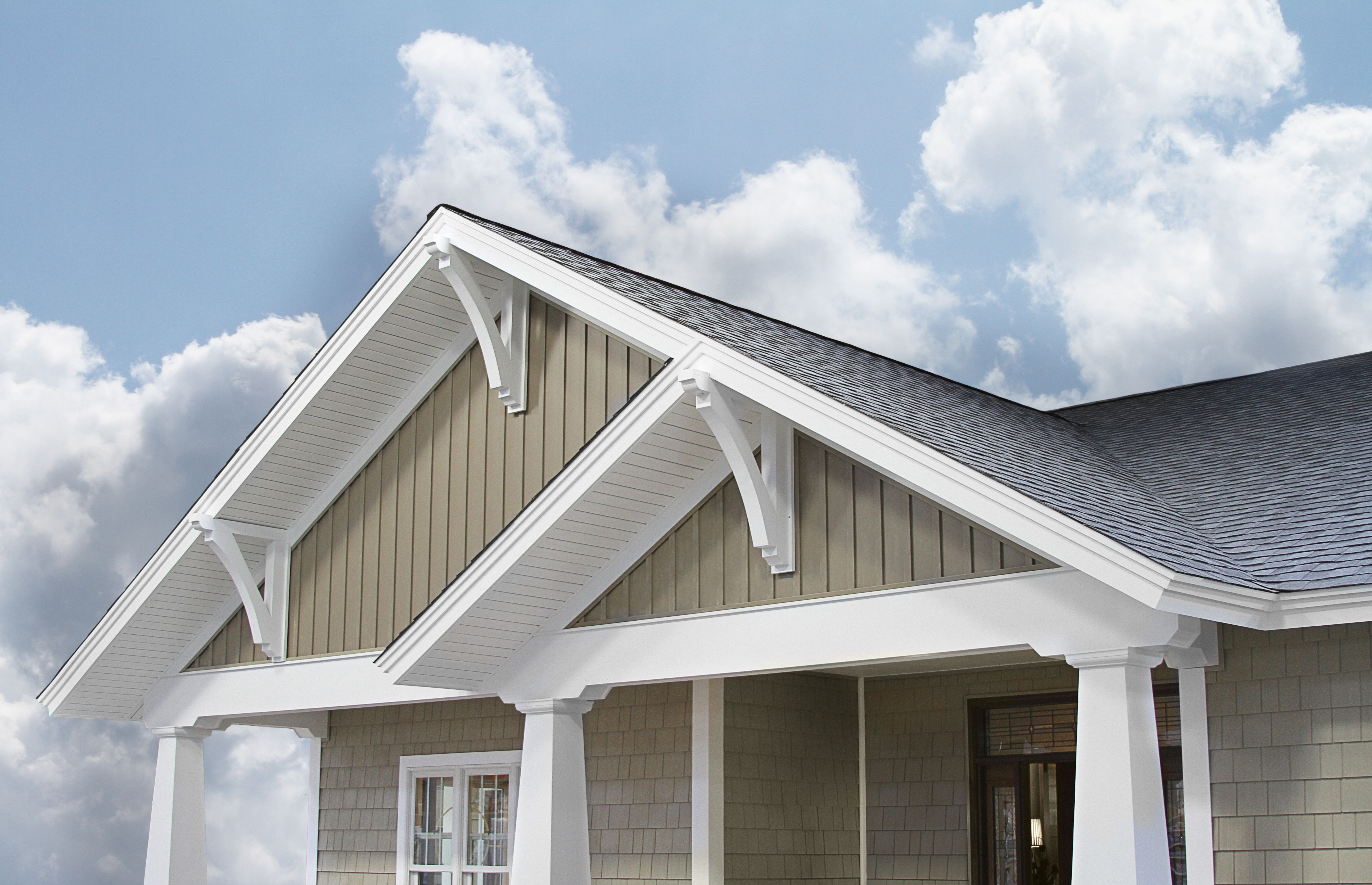 Sandalwood board 39 n batten vertical siding from provia is for Craftsman style siding