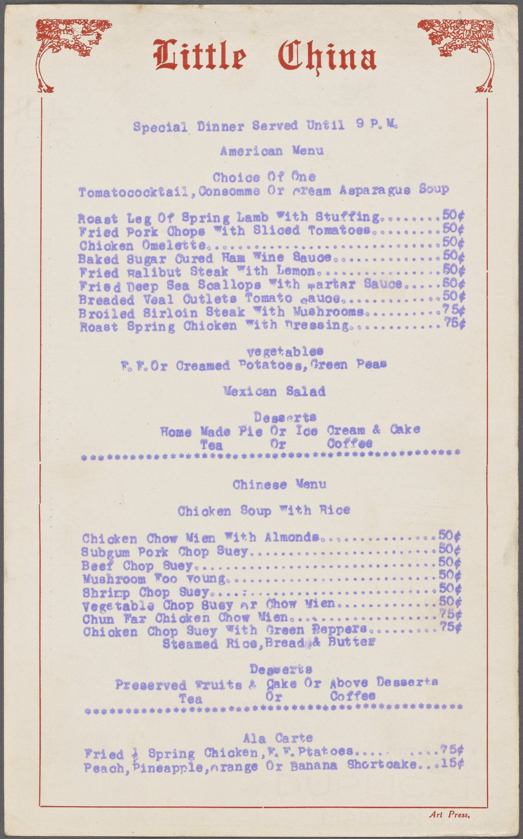Little China Syracuse Ny 1938 American Vs Chinese Menu Chinese Menu Chinese Takeaway Menu Vintage Menu