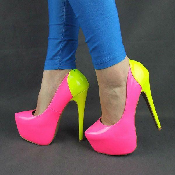 pink-yellow-platform-high heels | heels | Pinterest