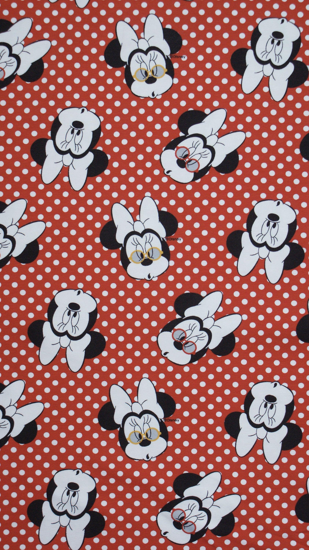 Disney Jersey Fabric Minnie Mouse Heads Disney Stoff Disney Minnie Mouse