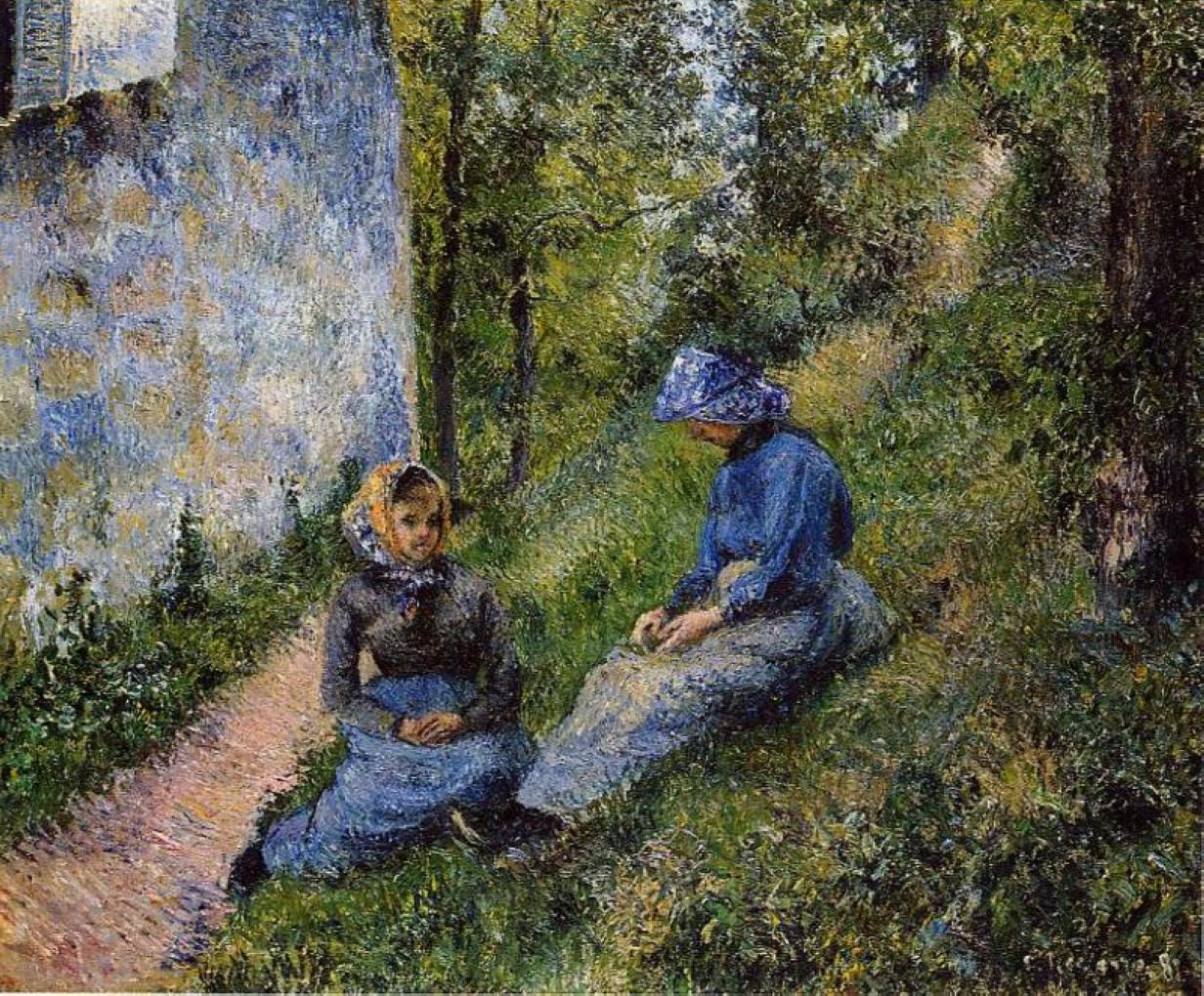 Seated Peasants, Sewing by @artpissarro #impressionism
