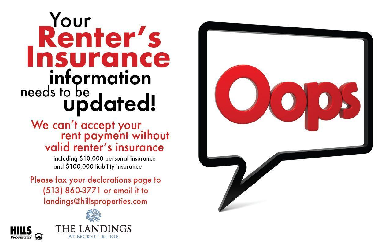 Renters insurance update needed flyer apartment